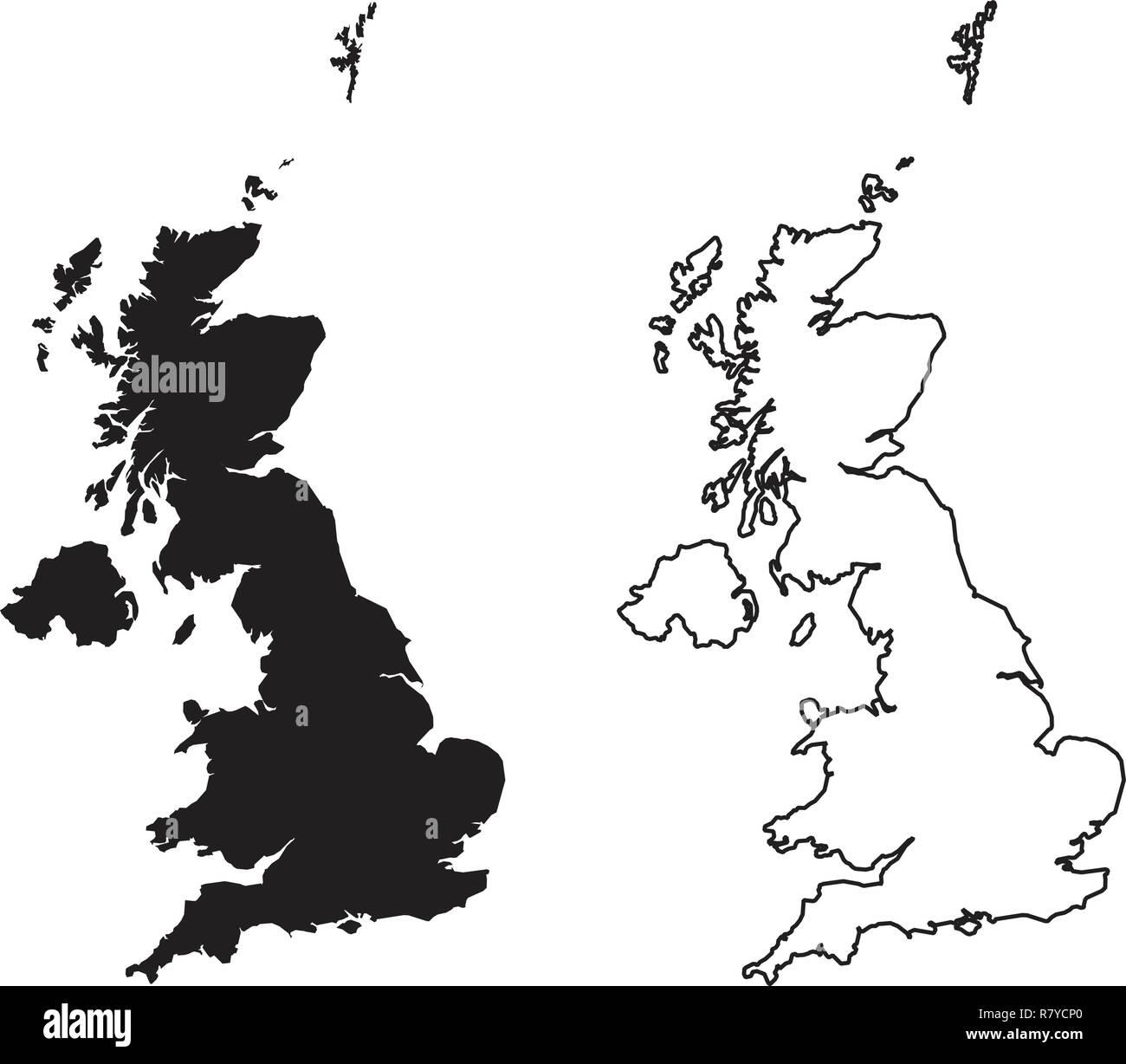 Großbritannien Karte Umriss.Einfach Nur Scharfe Ecken Karte Von Vereinigtes Königreich Von
