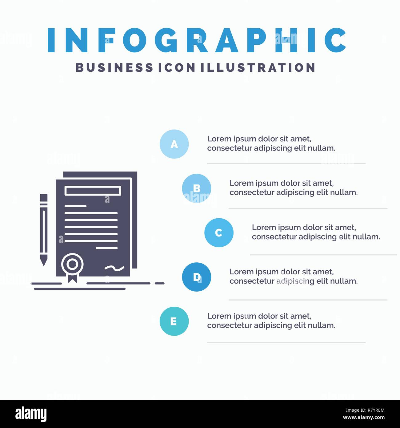 Business Zertifikat Vertrag Grad Dokument Infografiken Vorlage