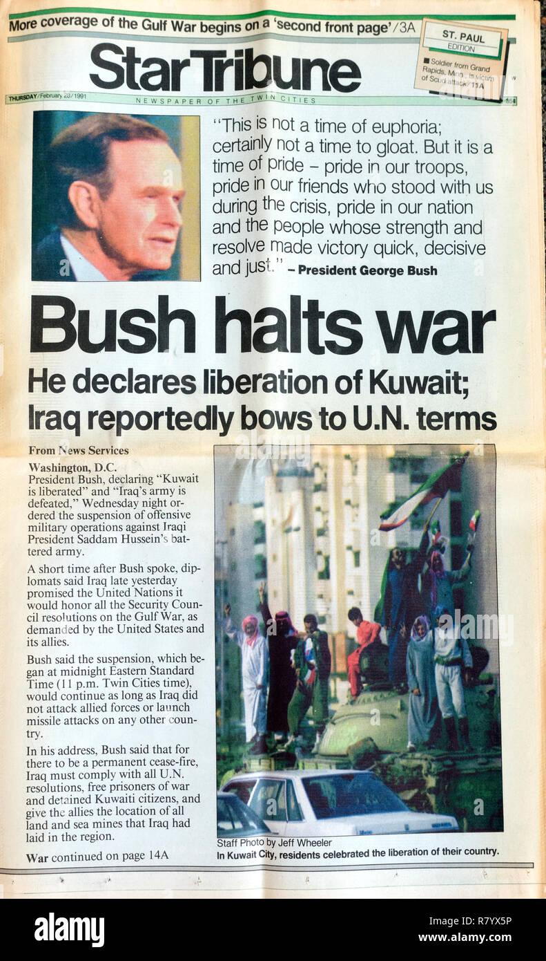 StarTribune Zeitung Front page 2/28/91 Präsident George H.W. Bush Stoppt den Krieg im Mittleren Osten und erklärt die Befreiung von Kuwait. St. Paul Minnesota MN USA Stockbild