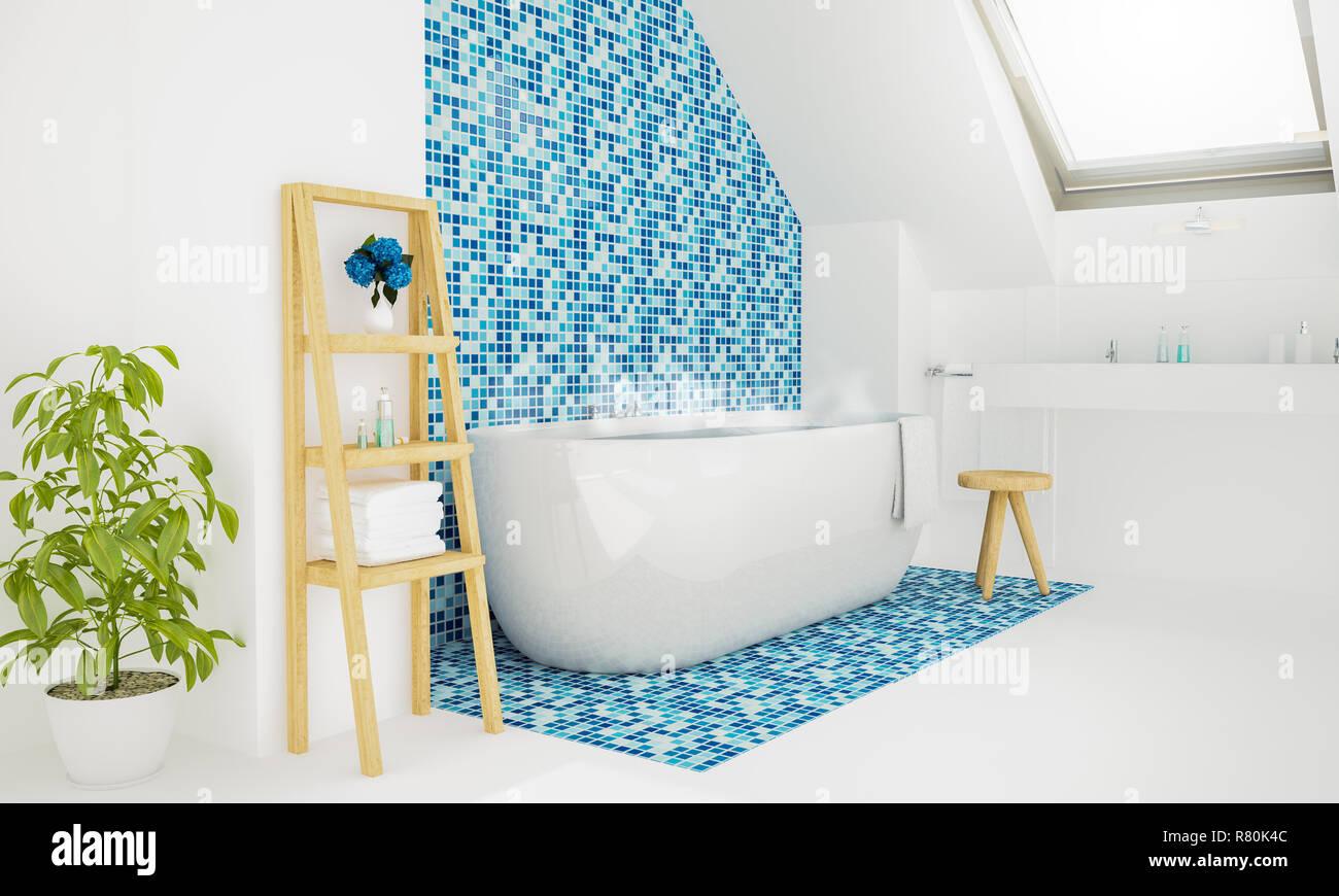 Warmes Wasser Bad Dachgeschoss Badezimmer 3D-Rendering Stockfoto ...