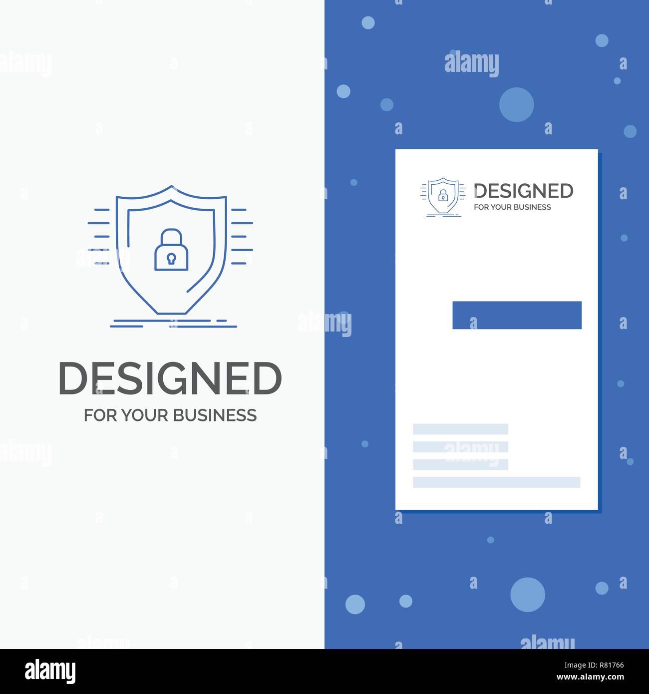 Business Logo für Verteidigung, Firewall, Schutz, Sicherheit, Schild. Vertikale blaue Business/Visitenkarte vorlage Stock Vektor