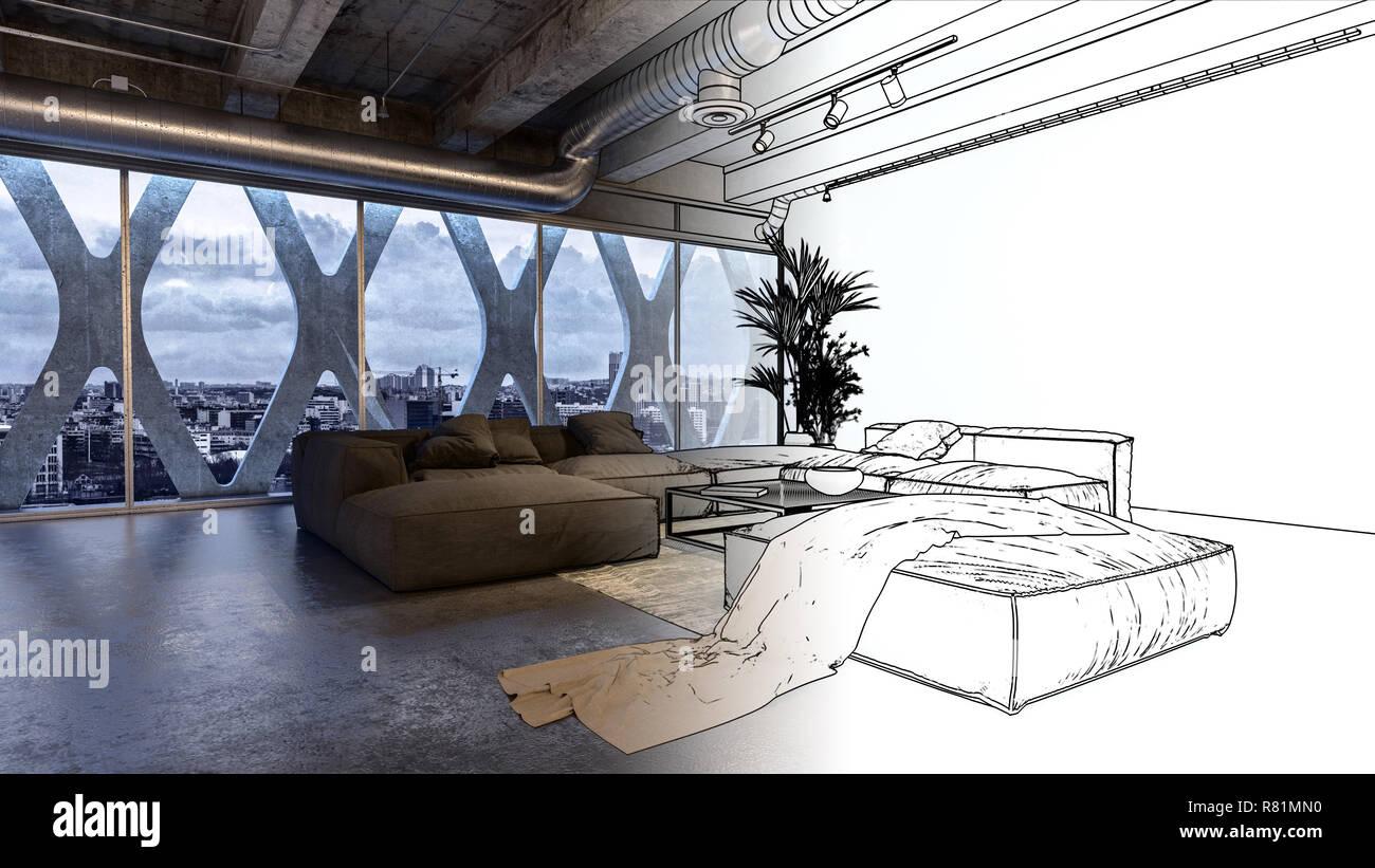 Eine moderne industrielle gestaltete luxuriöse apartment
