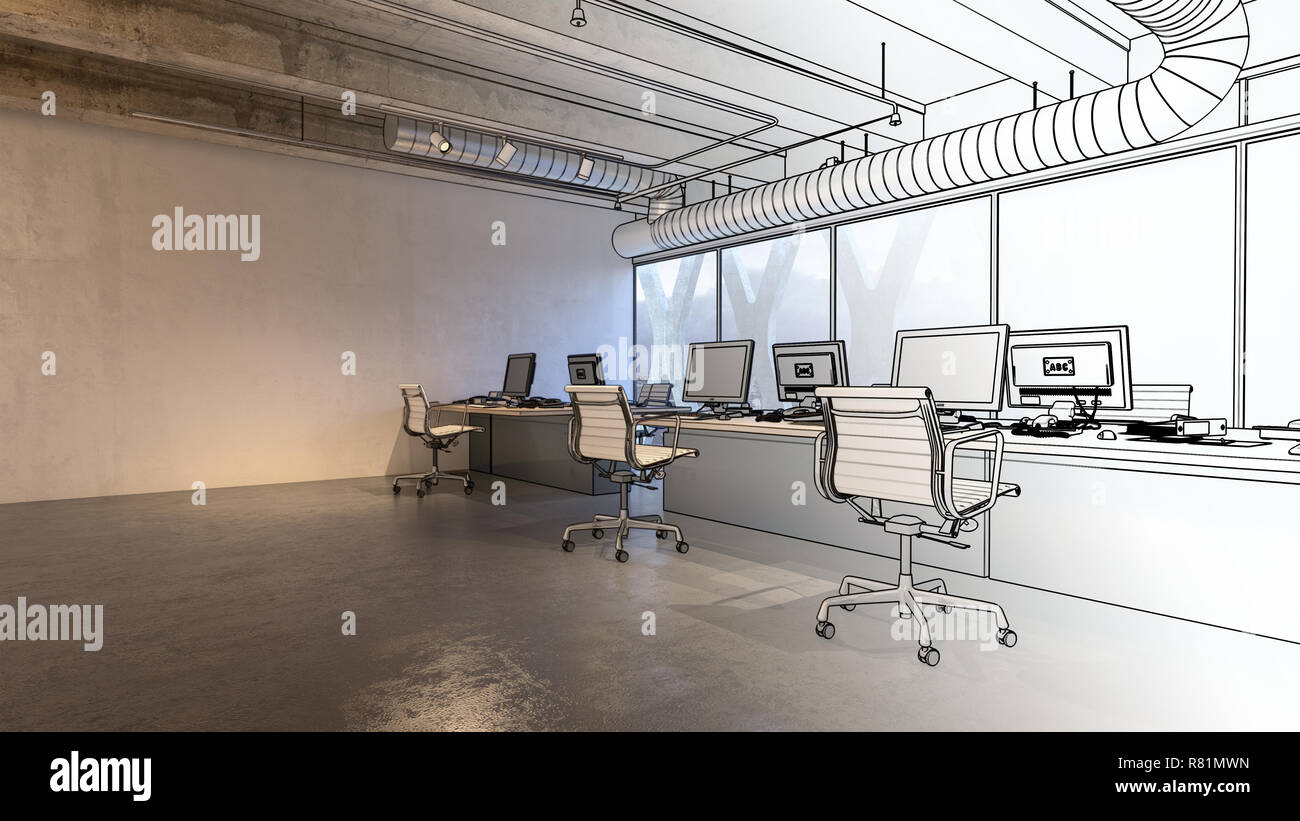 Buro Innenraumkonzept Mit 3d Modell Der Geraumige Zimmer Grosser