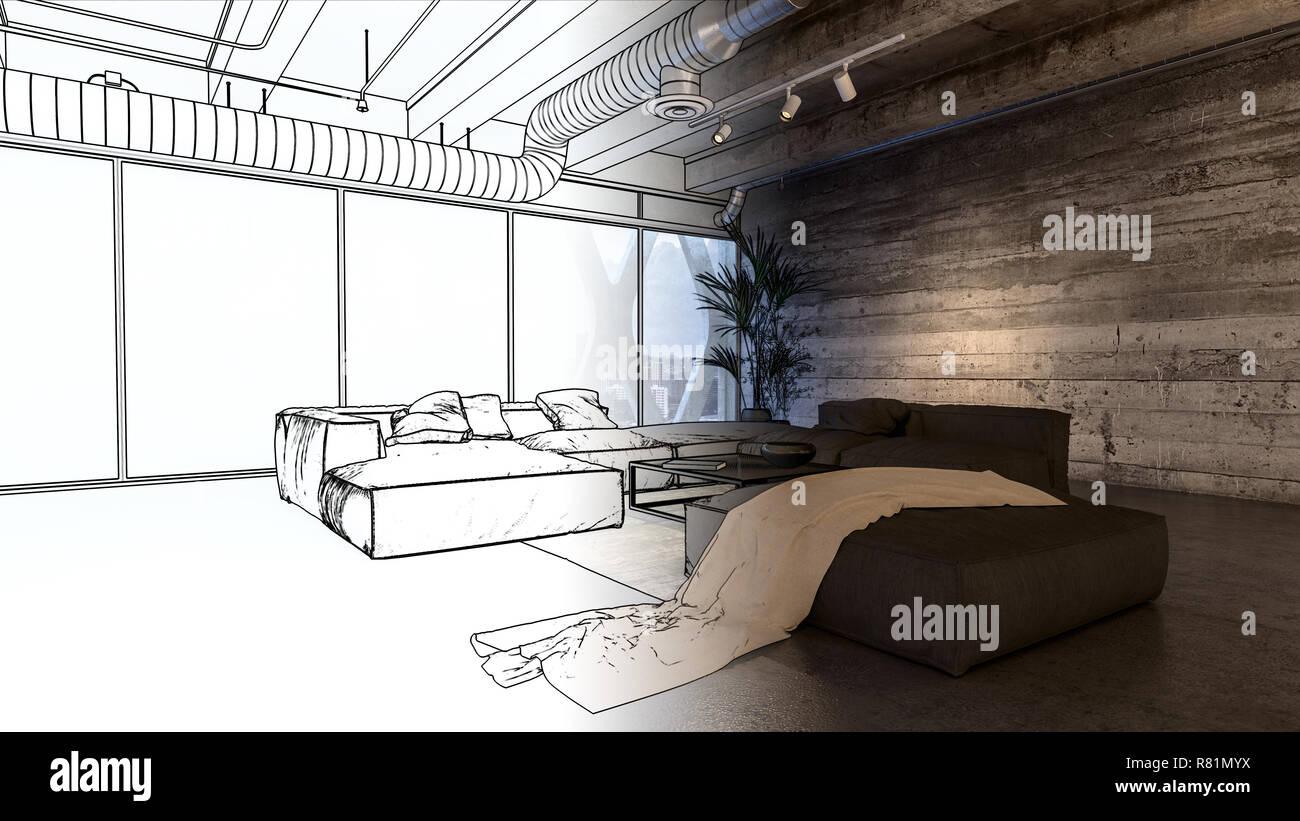 Eine moderne industrielle gestaltete luxuriöse penthouse