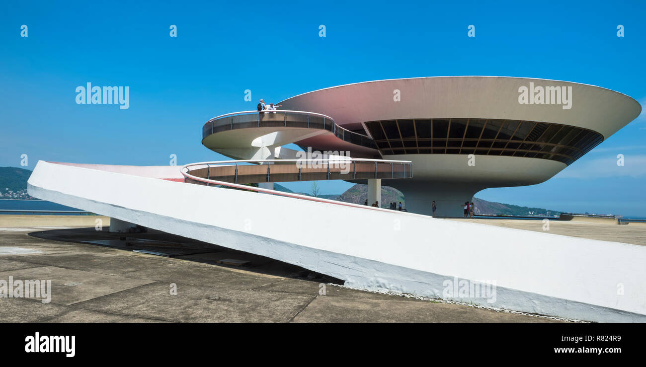 Museum für Zeitgenössische Kunst, niterói Niterói, Rio de Janeiro, Brasilien Stockbild