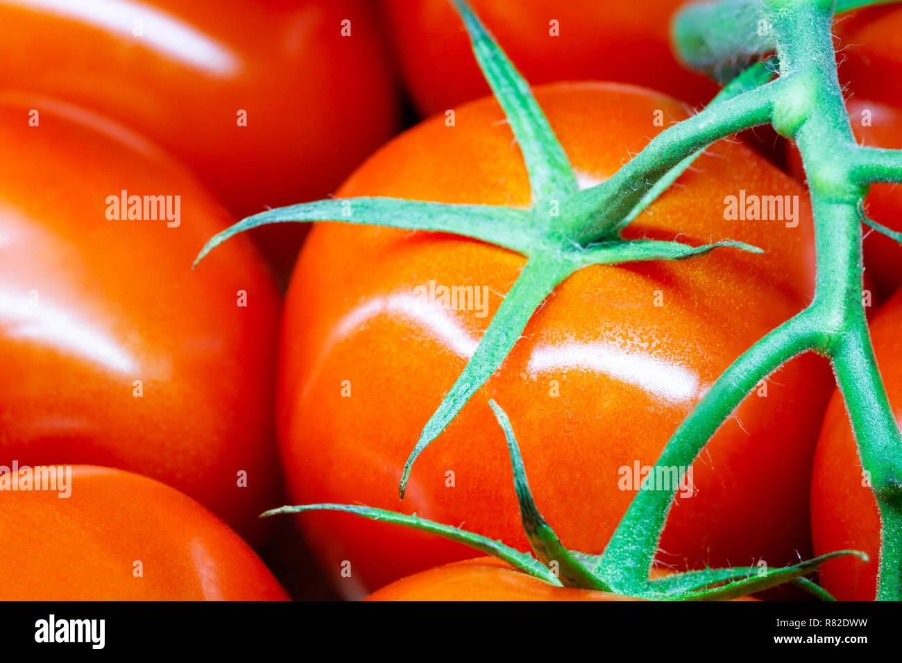 Сherry Tomaten auf der full frame Close-up. horizontales Format Stockfoto