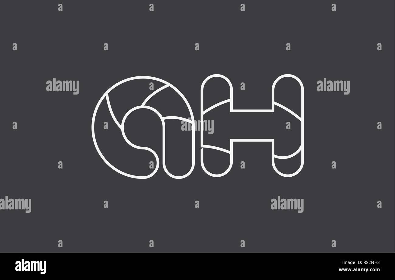 Schwarz Weiß Grau Buchstaben Ah A H Kombination Logo Design Geeignet