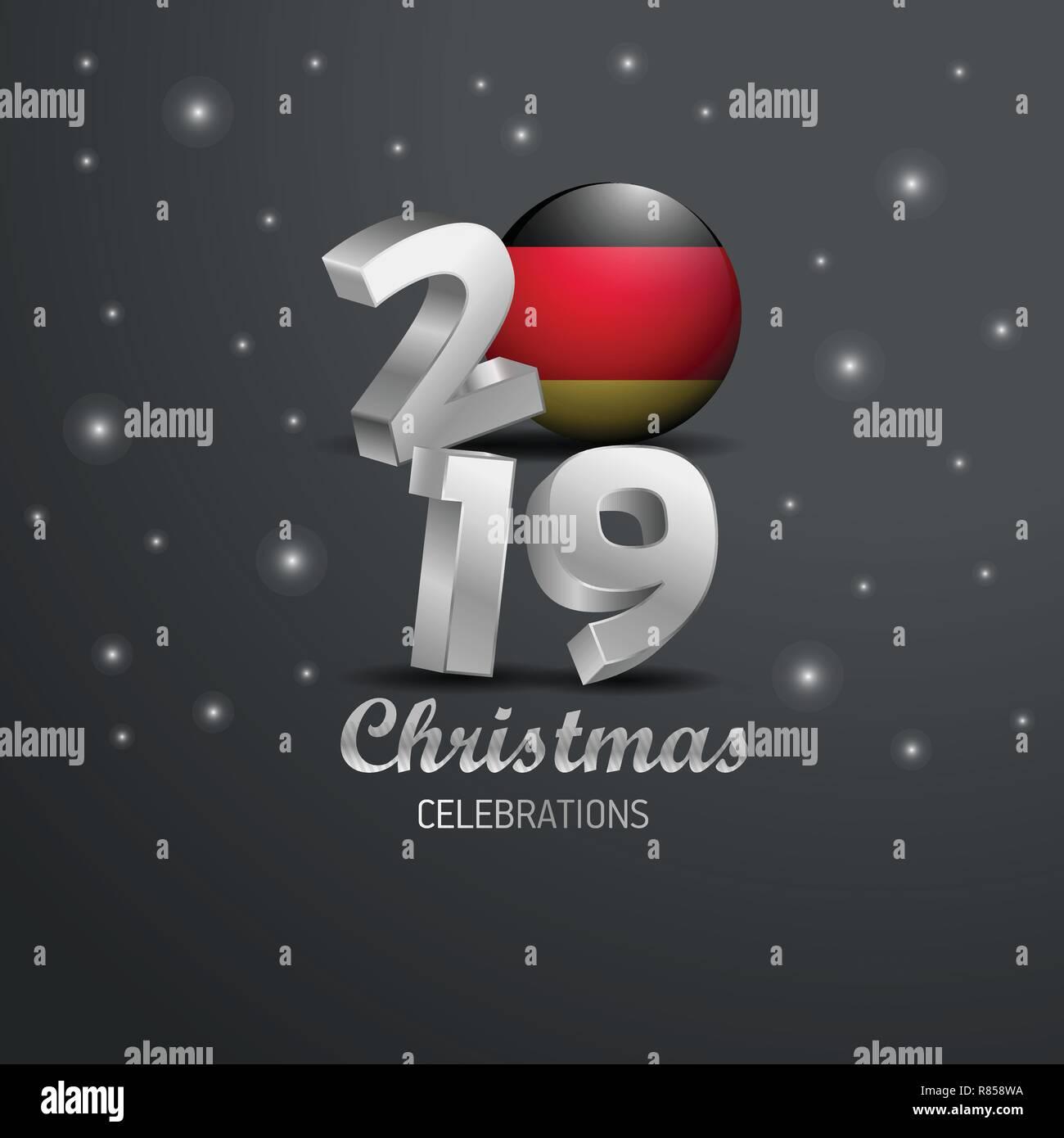 Weihnachten 2019 In Deutschland.Deutschland Fahne 2019 Frohe Weihnachten Typografie Neues Jahr