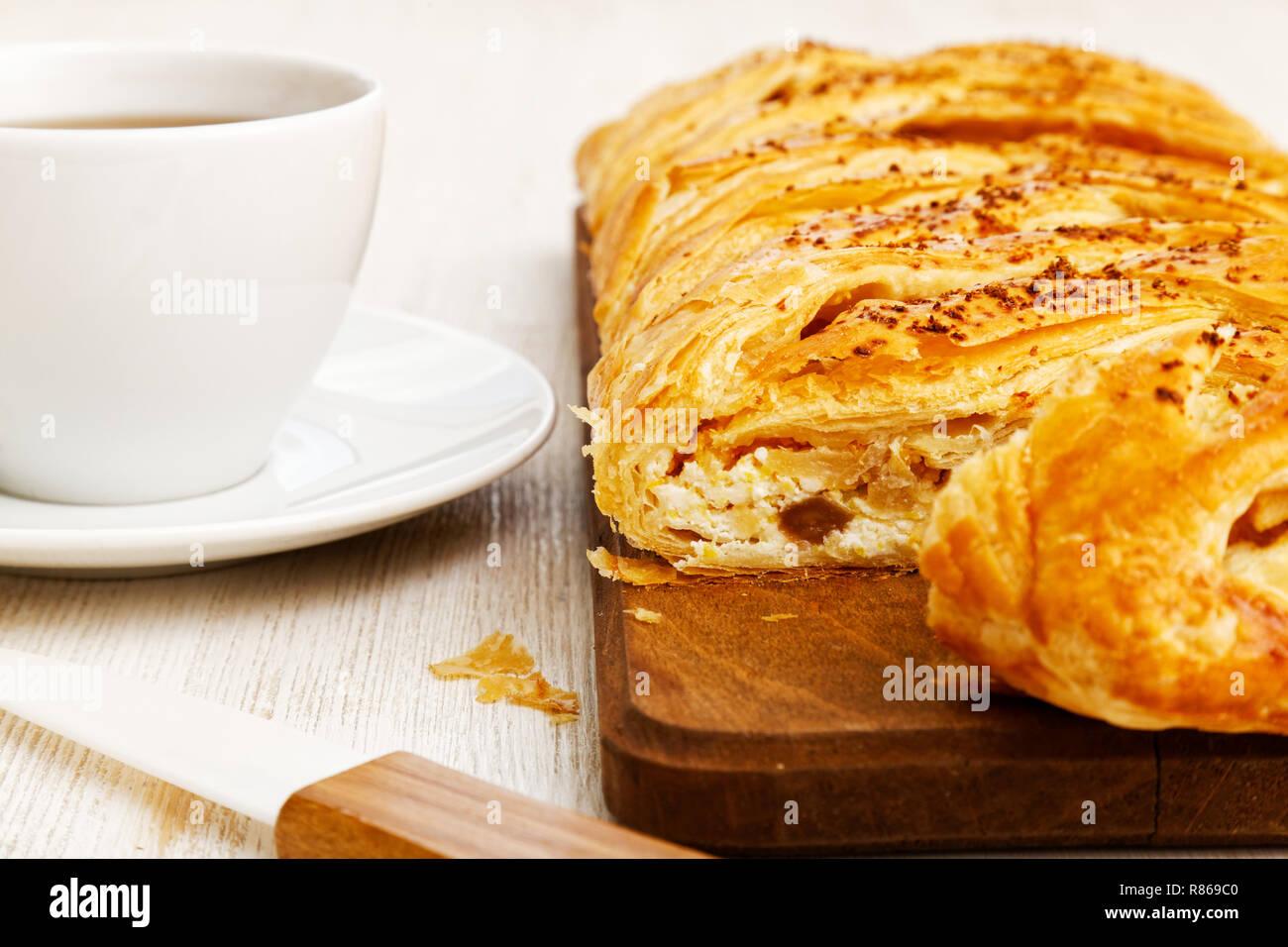 Closeup Hausgemachte Kuchen Aus Blatterteig Geflochtene Mit