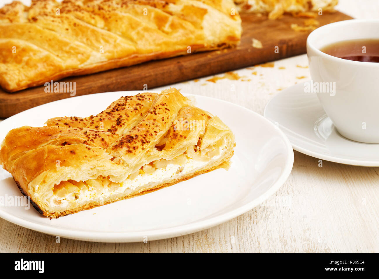 Stuck Hausgemachten Kuchen Aus Blatterteig Geflochtene Mit