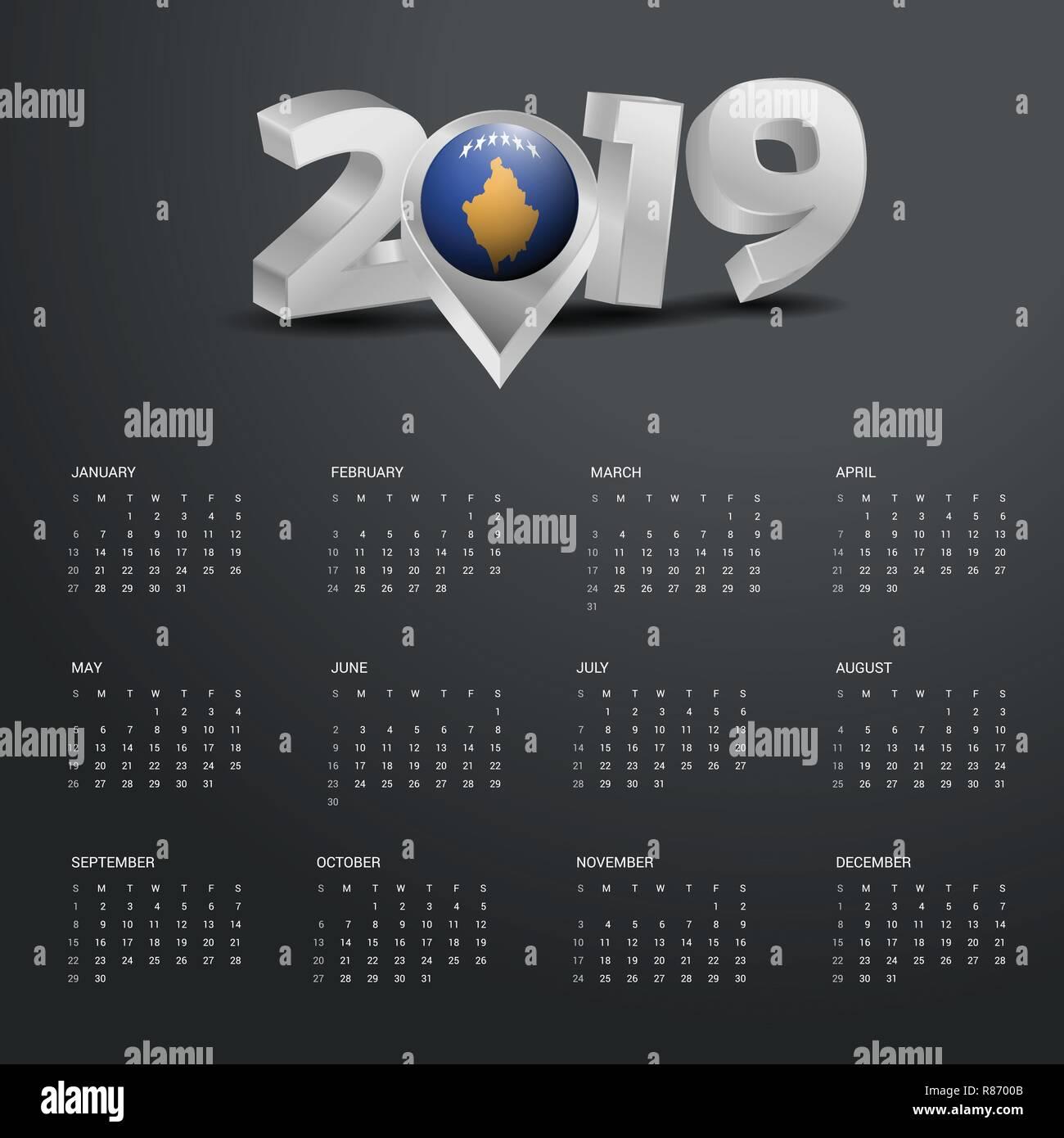 Kosovo Karte 2019.2019 Vorlage Kalender Grau Typografie Mit Kosovo Land Karte Golden