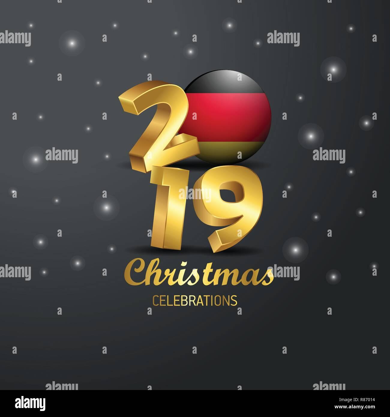 Frohe Weihnachten Aus Deutschland.Deutschland Fahne 2019 Frohe Weihnachten Typografie Neues