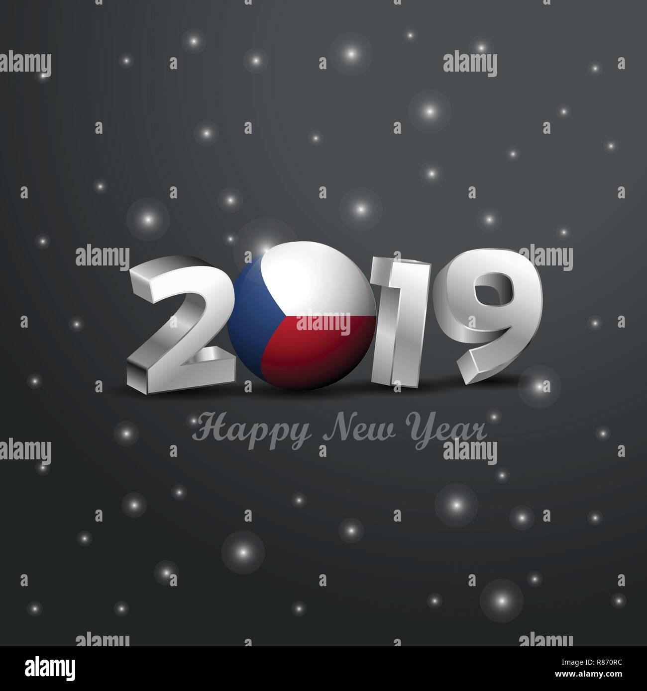 Frohe Weihnachten Und Ein Gutes Neues Jahr Tschechisch.2019 Frohes Neues Jahr Tschechische Republik Flagge