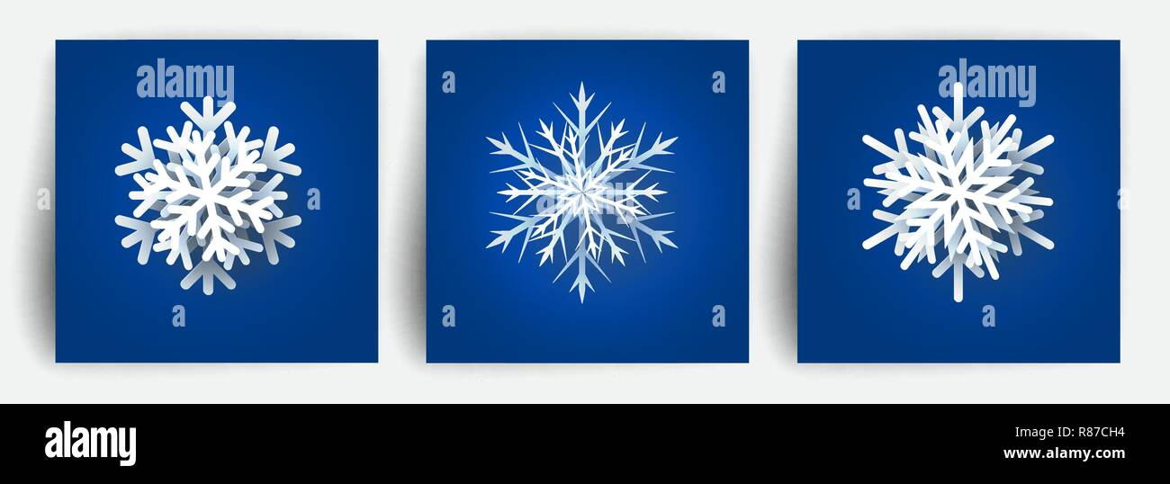 Extrem Satz von Weihnachten Schneeflocken. Papier schneiden 3D-Elemente MA53