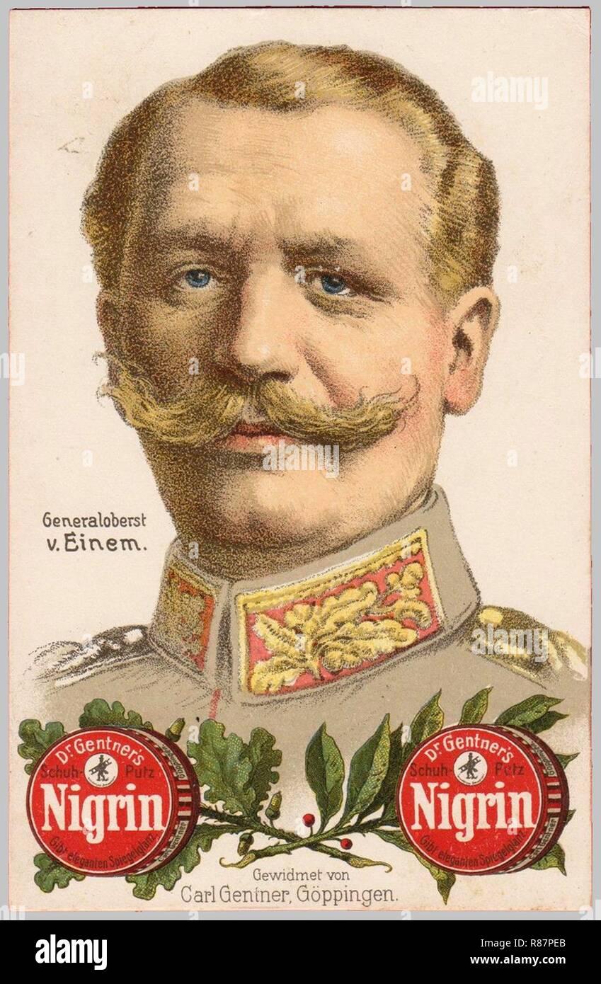 Carl Gentner AK Generaloberst v. C. Einem, Bildseite Nigrin. Stockbild