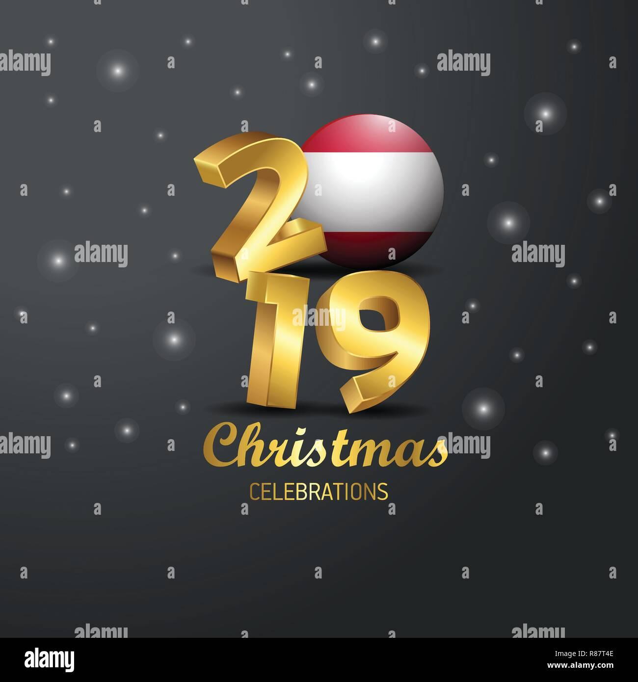 Weihnachten 2019 österreich.österreich Flagge 2019 Frohe Weihnachten Typografie Neues Jahr