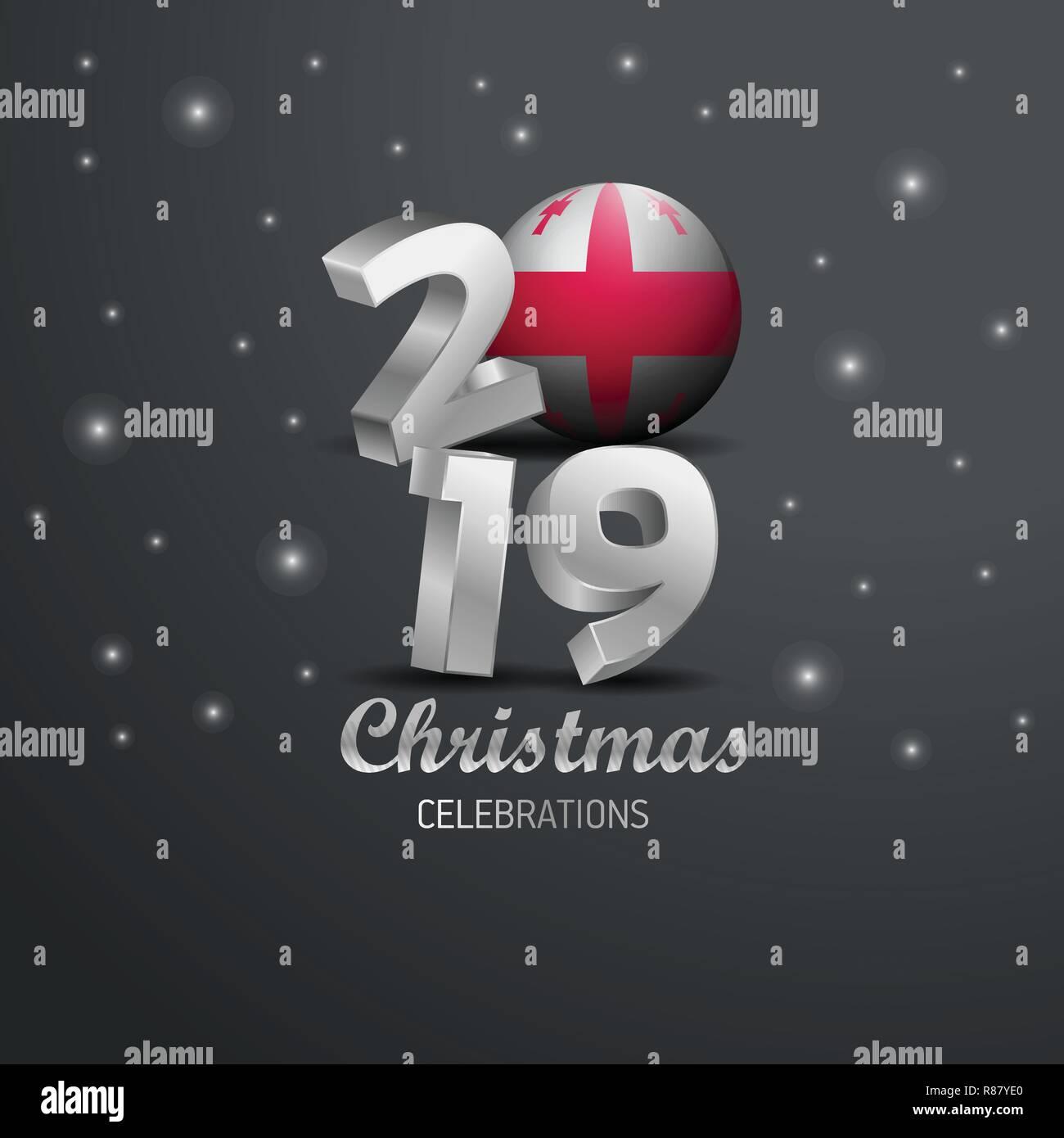 Frohe Weihnachten Georgisch.Georgia Flagge 2019 Frohe Weihnachten Typografie Neues Jahr