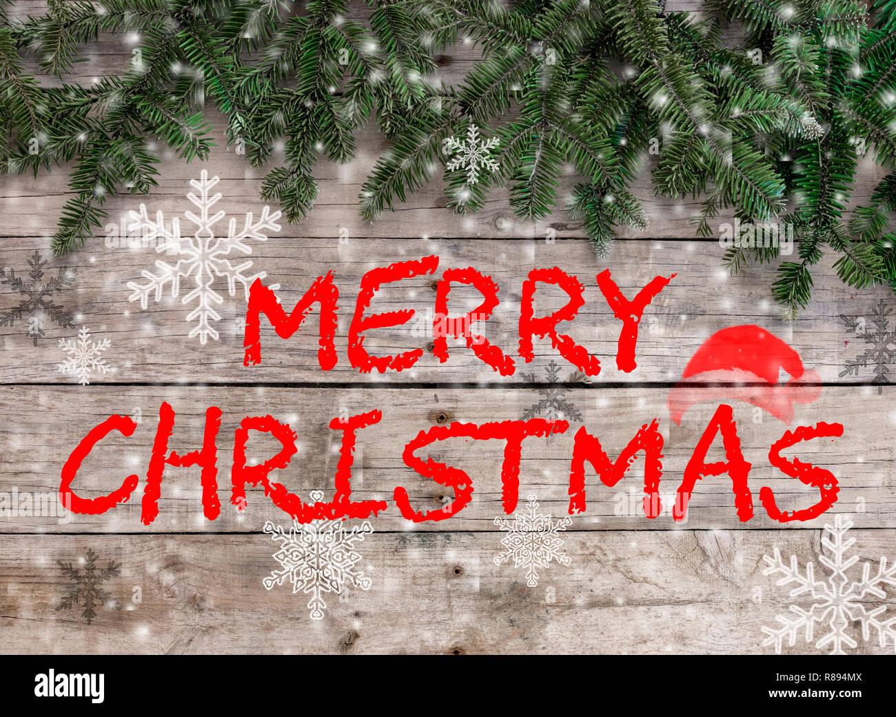 Frohe Weihnachten Rahmen.Weihnachten Postkarte Rahmen Auf Holz Hintergrund Fur Die