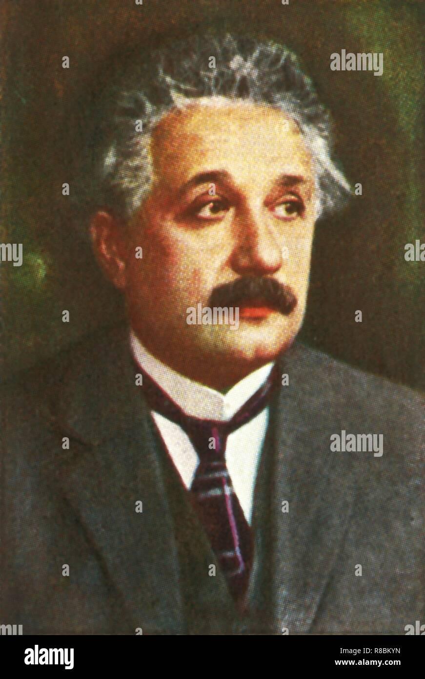 Professor Albert Einstein, c 1928. Porträt des deutschen Mathematiker und Physiker Albert Einstein (1879-1955), dessen wichtigsten Beitrag zur Wissenschaft wurde die Theorie der Relativität, von vielen als die wichtigste Theorie in der Geschichte der Physik. Seine besondere (1905) und General (1916) Theorien der Relativitätstheorie bewiesen das Konzept, das die Zeit nicht mit der gleichen Rate für alle und alles vorhanden. Die spezielle Relativitätstheorie produziert die Gleichung, die die Gleichwertigkeit zwischen Materie und Energie zum Ausdruck bringt: E = mc im Quadrat. 1921 erhielt Einstein den Nobelpreis für Physik. Seine jüdische Herkunft bedeutete, dass er Stockbild