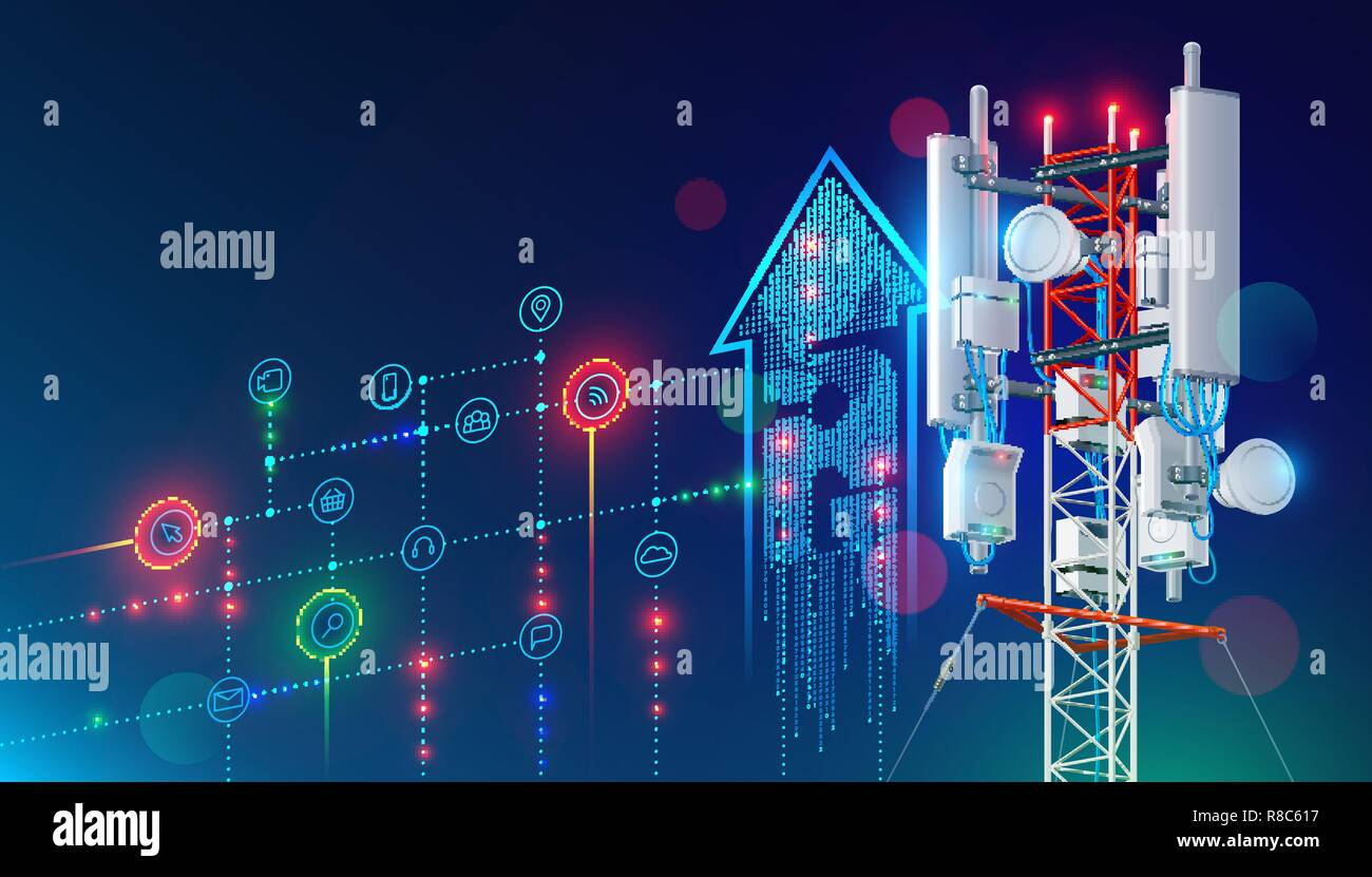 20G Kommunikation Turm für Wireless Hi speed Internet. In city life ...