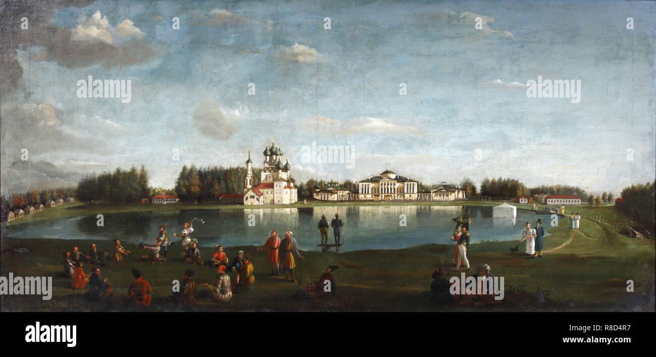 Blick auf den Ostankino Immobilien, 1833. In der Sammlung des Museum Palace Theater Ostankino, Moskau gefunden. Stockbild
