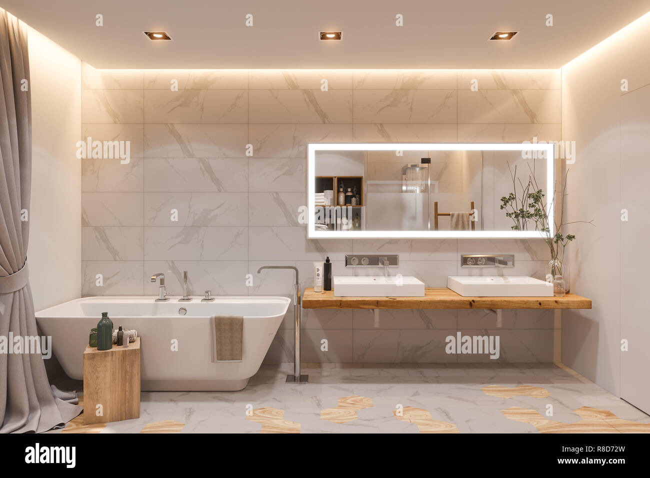 Die Gestaltung des Innenraums ein Badezimmer, 3D-Darstellung. Der ...