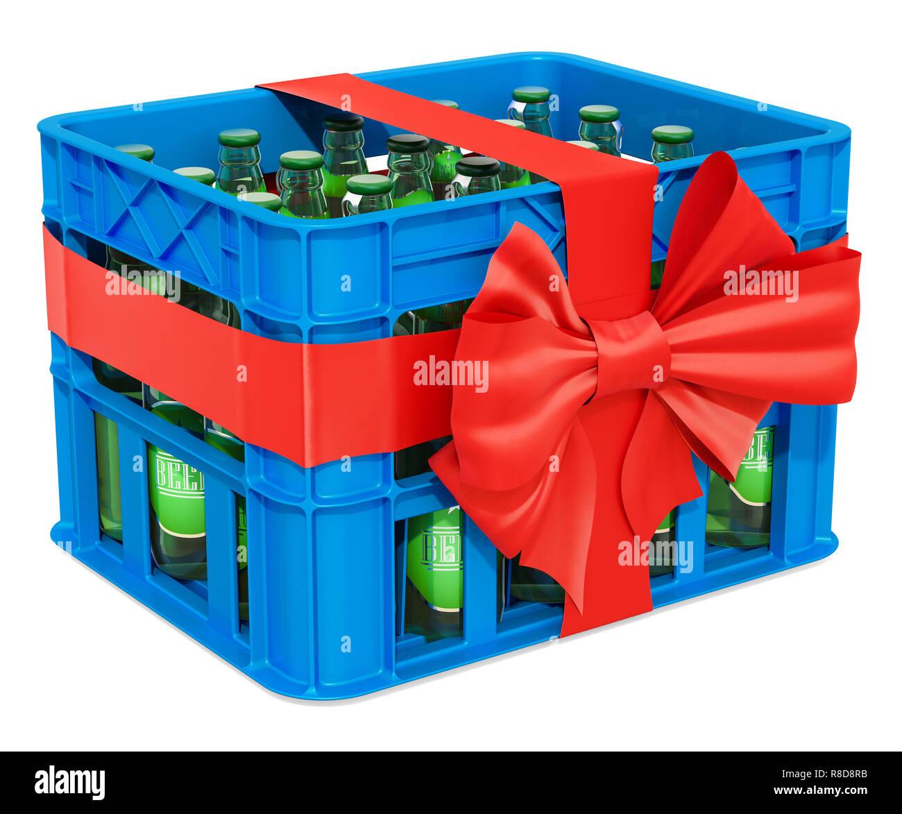 Kunststoff Kiste Voller Bier Flaschen Mit Roter Schleife Und Farbband Geschenk Das Konzept 3d Rendering Auf Weissem Hintergrund Stockfotografie Alamy