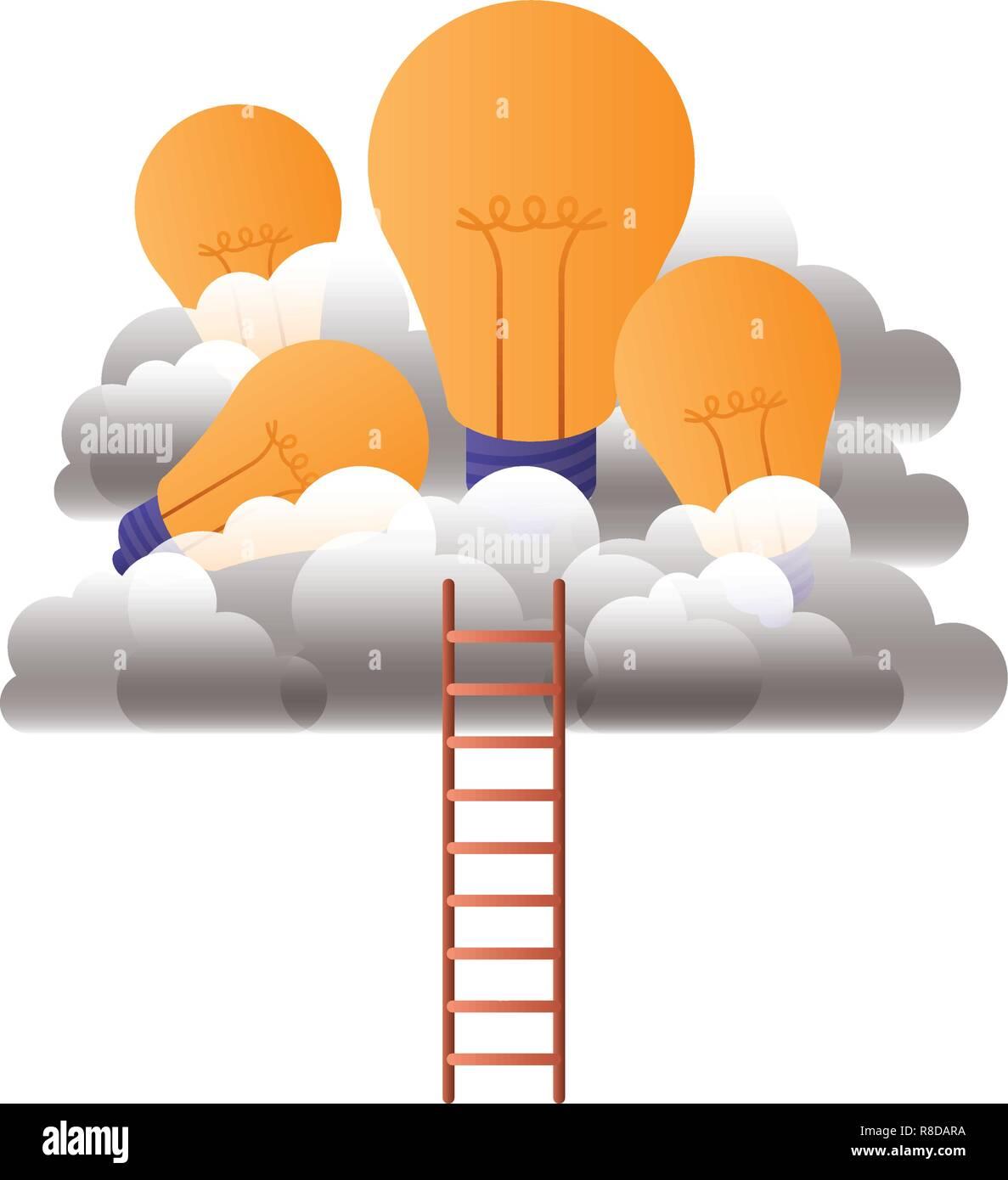 Glühlampen mit Wolken und Treppen Stock Vektor