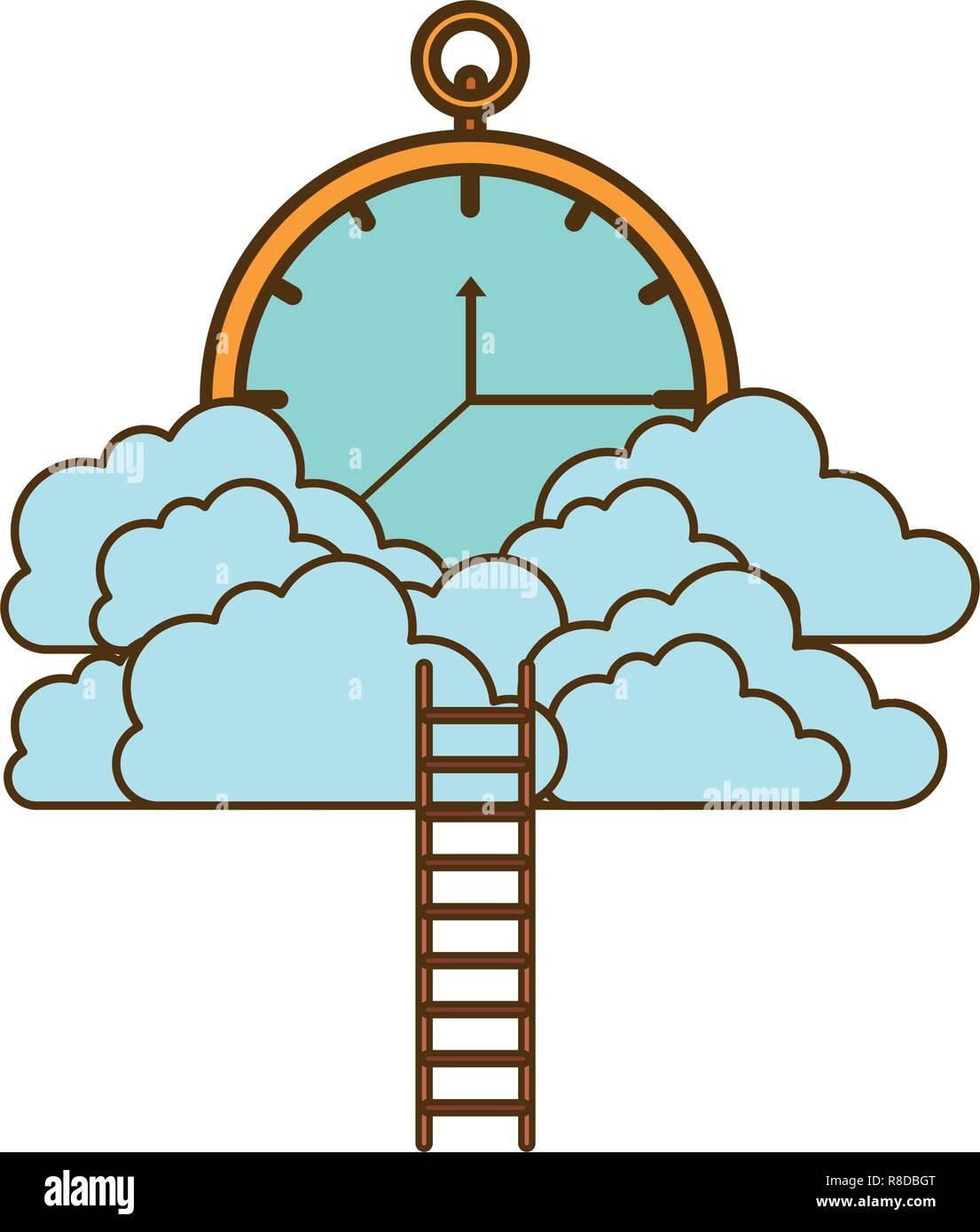 Uhr mit Wolken und Treppen Stock Vektor