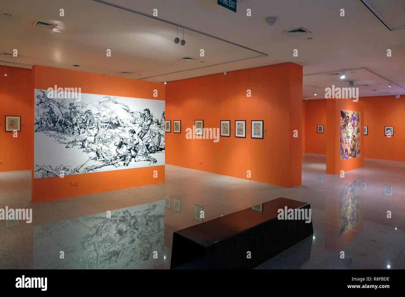 """Comic Werke von Francisco V. Coching Wer war eine philippinische Comics Illustrator und Schriftsteller und gilt als eine der """"Säulen des philippinischen Komiks Industrie an Ayala Museum, das ethnographische und archäologische Exponate auf die Philippinische Kultur, Kunst und Geschichte in Makati, Metro Manila, Philippinen angezeigt. Stockbild"""