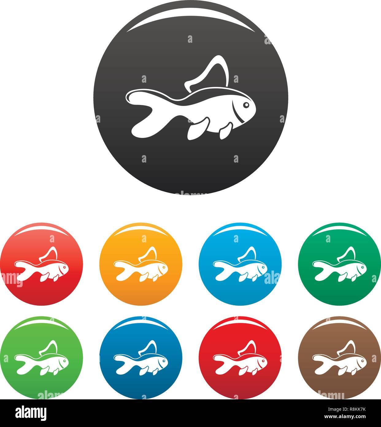 Aquarium Fisch Icons Set 9 Farbe Vektor Isoliert Auf Weiss Fur Jedes