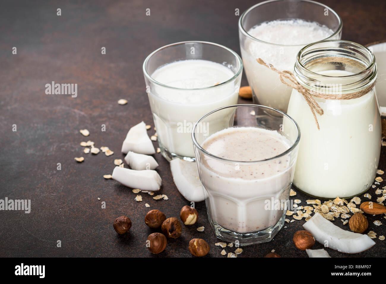 Vegan ohne Milchprodukte alternative Milch. Stockbild