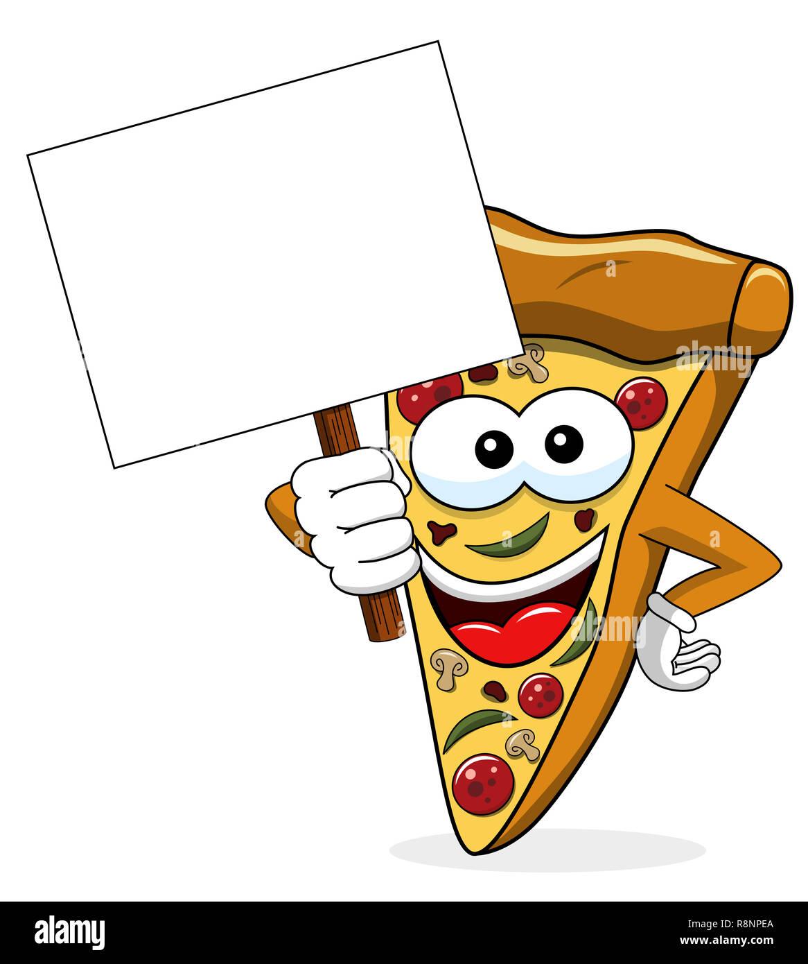 Pizza cartoon lustige Banner copyspace isoliert auf weißem Stockbild