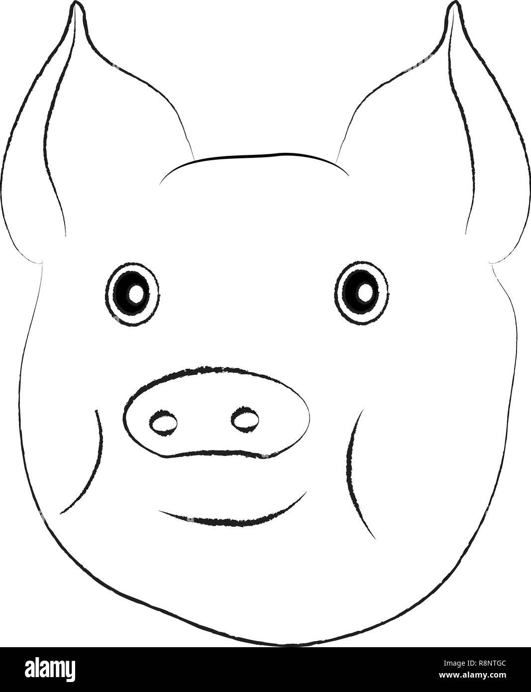 Black White Pig Cartoon Illustration Stockfotos Black White Pig