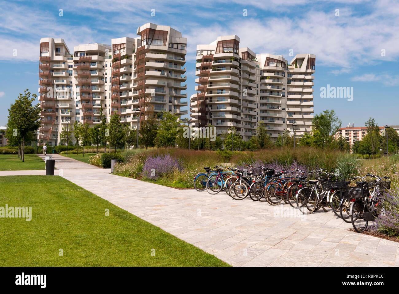 Horizontale Ansicht der Libeskind Residenzen in Mailand, Italien. Stockfoto