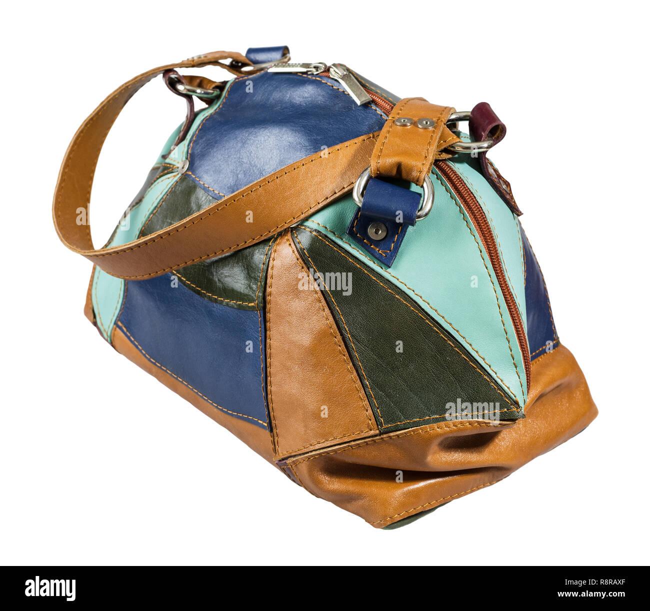 9a76c45daa8b5 Handmade patchwork Leder mehrfarbige Handtasche auf weißem Hintergrund  Stockbild