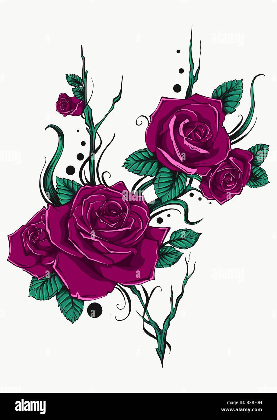 Schönen blumenstrauß mit rote rosen und blätter blumenschmuck design grußkarte und einladung der hochzeit