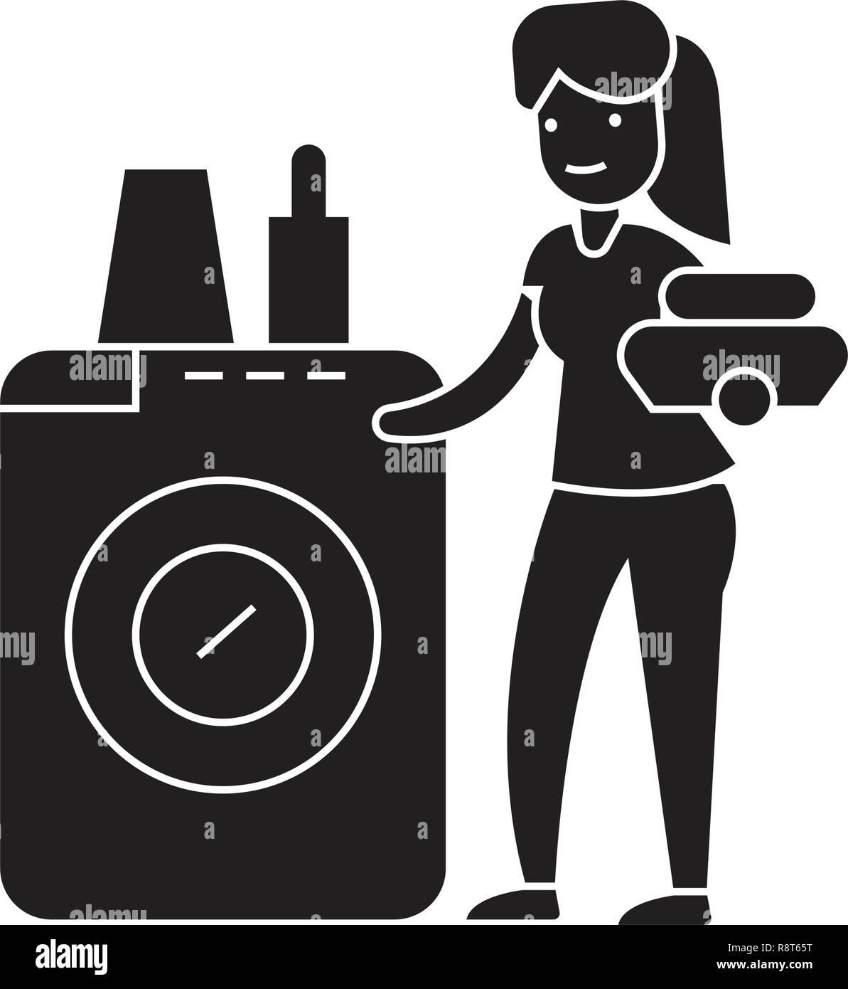 Gut gemocht Geschirrspüler Waschmaschine schwarz Vektor Konzept Symbol PK34
