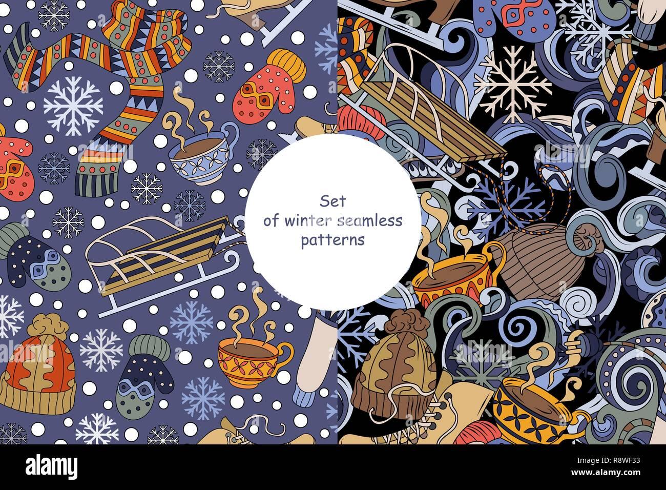 Eingestellt von Cartoon cute doodles Saison nahtlose Muster Winter. Bunte detaillierte, Vector Illustration. Stockbild