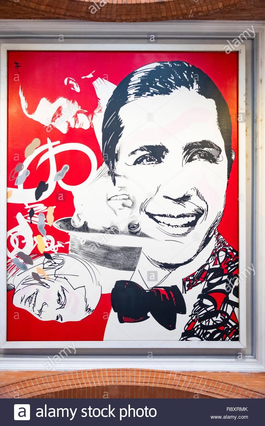 Frankreich, Haute Garonne, Toulouse, Portrait von Carlos Gardel, unter den Arkaden des Capitol Square Stockbild
