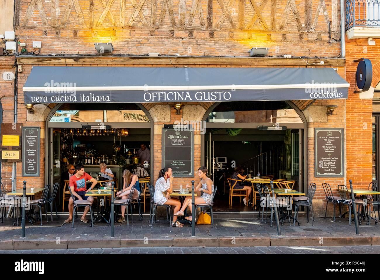 Frankreich, Haute Garonne, Toulouse, Italienisches Restaurant Officina Gusto Stockbild