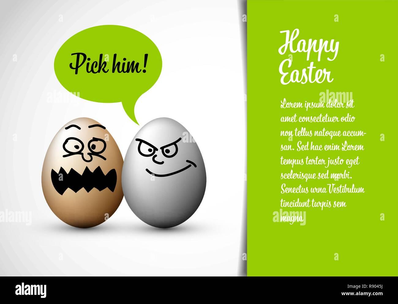 Lustige Ostern Karte mit Ostereiern und eine Sprechblase mit Text: ihn abholen! Stockbild