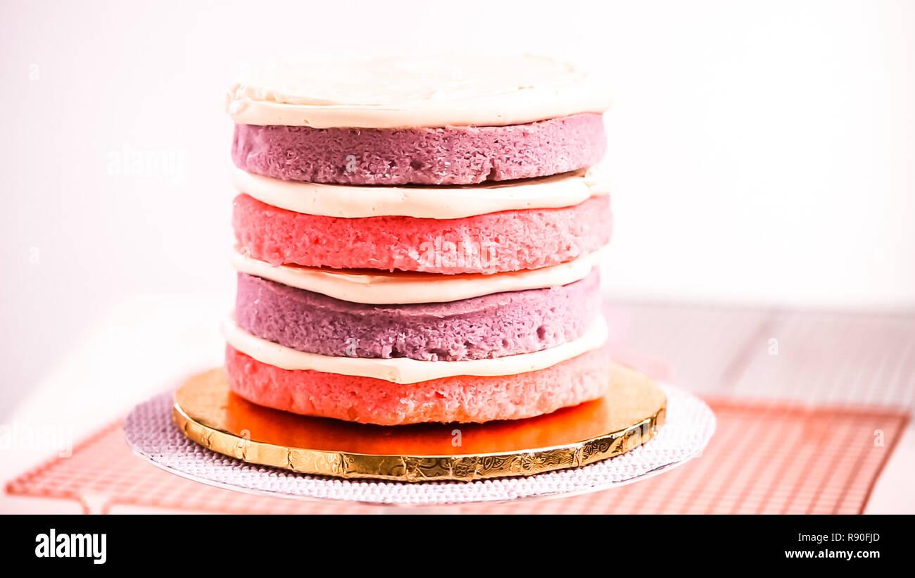 Baker Montage Rosa Und Lila Kuchen Layer Einhorn Kuchen Fur S Little