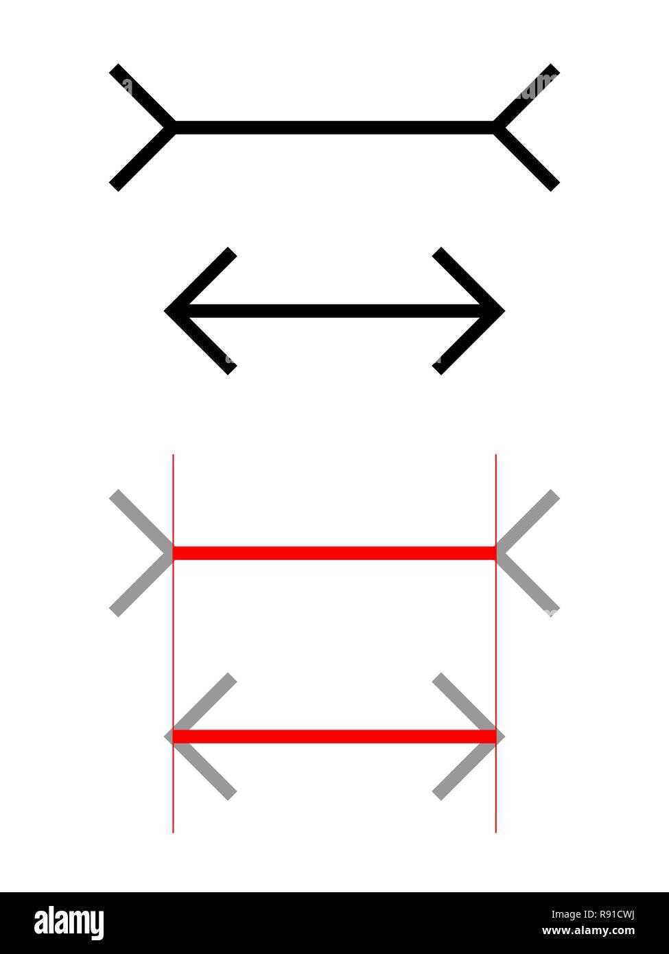Die Müller-Lyer Illusion ist eine optische Täuschung, in der zwei Linien gleicher Länge erscheinen in verschiedenen Längen. Stockbild