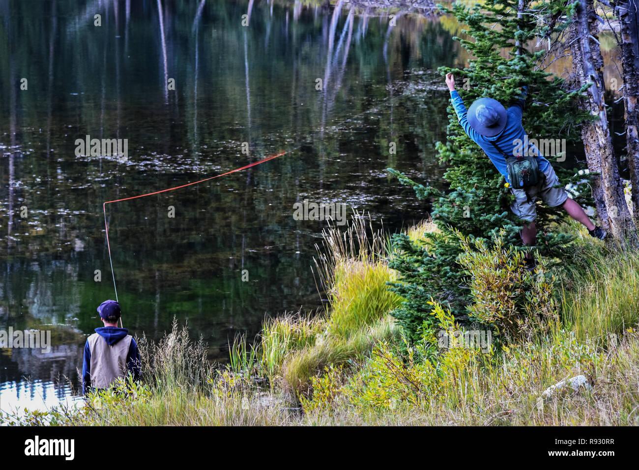 Abrufen einer fliegen von einer Kiefer, während sein Sohn, Fische zu fliegen. Stockbild