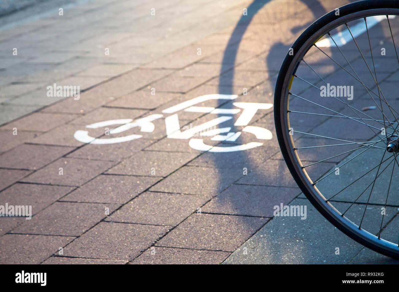 Radweg mit Piktogramm Stockbild