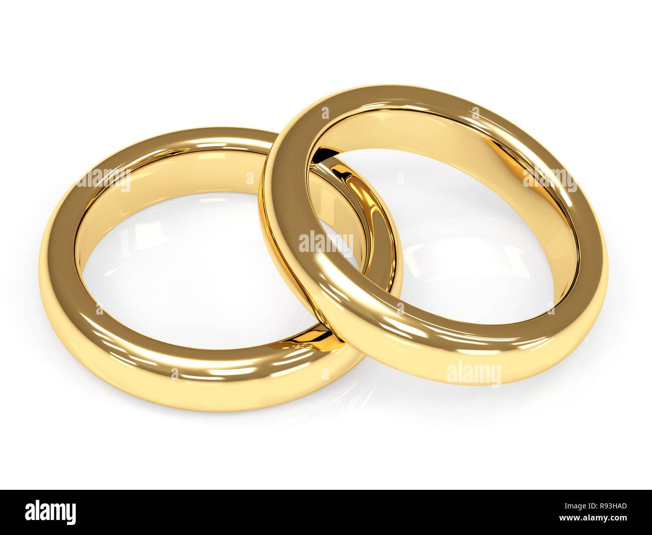 Zwei 3d Gold Hochzeit Ringe Objekte über Weiß Stockfoto
