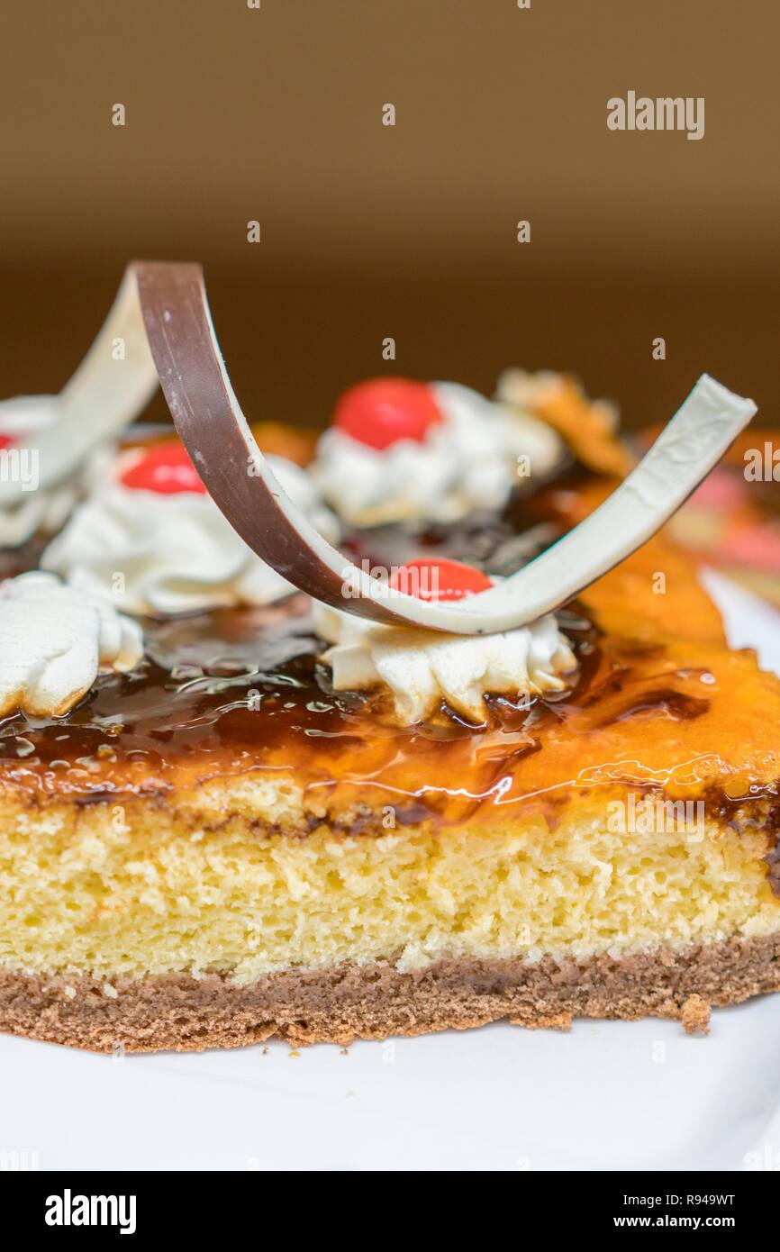 Nahaufnahme Der Leckeren Kuchen Mit Marmelade Schokolade Und