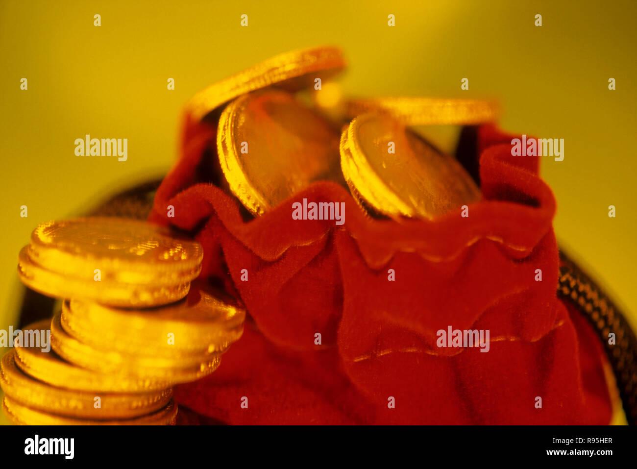 Konzept - Goldmünzen Stockbild