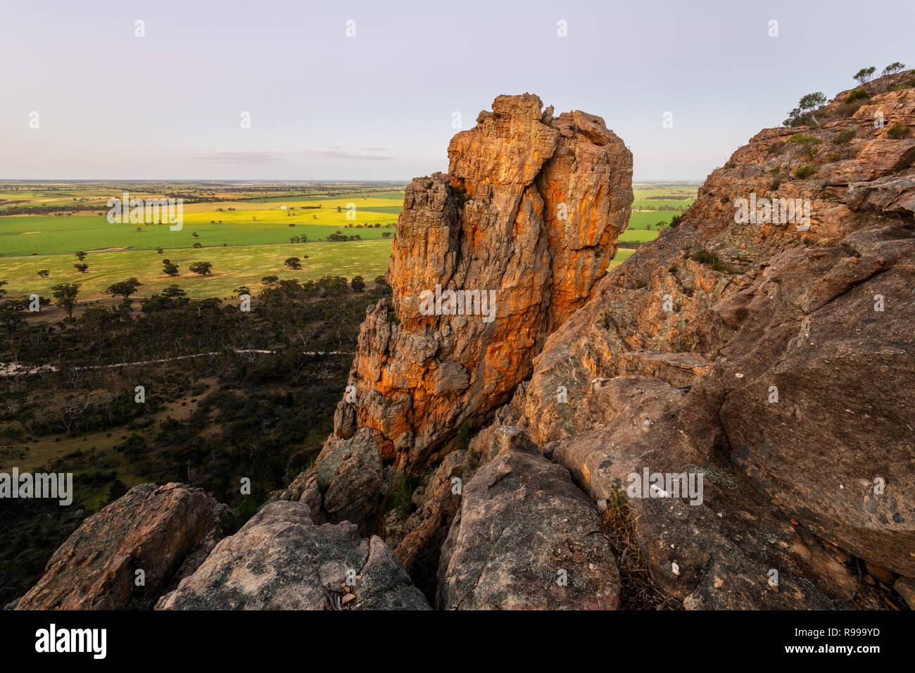 Die Pharos ist eine Felsformation am Mount Arapiles, sehr beliebt zum Klettern. Stockbild